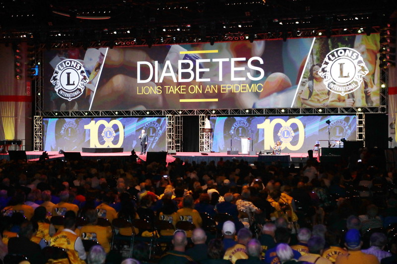 At their centennial convention in Chicago, Lions International unveils diabetes as a new global signature cause around which they will mobilize their 1.4 million volunteer members in 200 countries. (PRNewsfoto/Lions Clubs International)